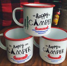 Happy camper DIY enamel mugs