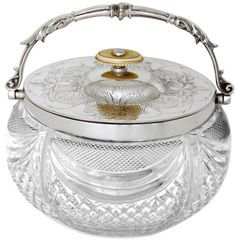 English Oval Silver Plate and Glass Biscuit Barrel - Circa 1875