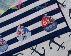 Personalized Nautical Themed Applique Sailboat Crib Quilt