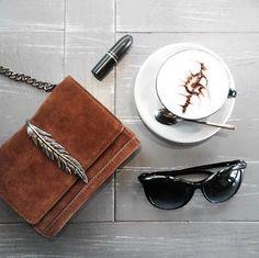 Coffee, Zara bag, Mac lipstick. #flatlay @sabinabotica Instagram photo