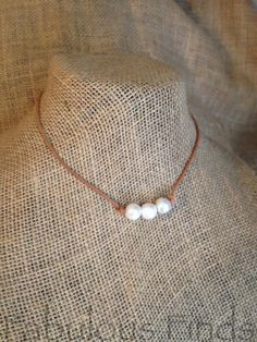 Triple Pearl and Tan Leather Classic Choker by loveFabulousFinds, $34.00