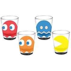"Pac-Man Shot Glass 4-Pack for those of you who still ""pop quarters.""   NEVER EVER DRINK AND DRIVE!"