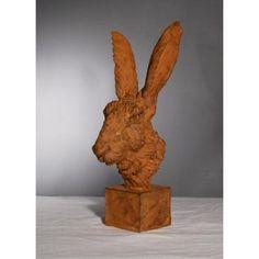 Sculpture Tête De Lièvre En Terre Cuite Signé Jean-paul Gourdon (né En 1956) - Antiquaires.com