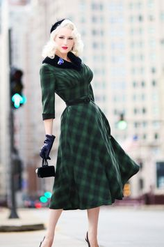 1940s Style Dresses and Clothing 40s Lola Tartan Swing Dress in Green £62.49 AT vintagedancer.com