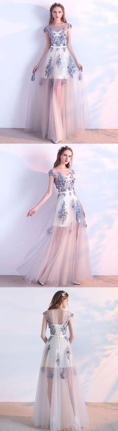 Gray tulle lace long prom dress, evening dress, gray tulle formal dress