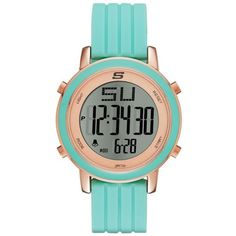 Skechers Mint Womens Westport Digital Chronograph Mint Silicone Strap... ($30) ❤ liked on Polyvore featuring jewelry, watches, mint, mint green watches, digital chronograph watch, water resistant watches, mint green jewelry and skechers watches