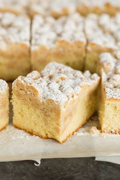 Slices of New York-style crumb cake. Perfect for Mothers Day Brunch!