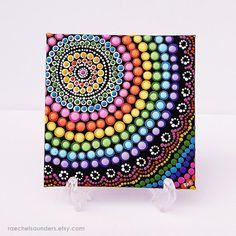 Acrylic paint on Canvas Board Rainbow Painting by RaechelSaunders