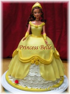 My Princess Belle Cake! Princess Belle made with an actual Belle doll. By Julie Streeter @ The Cuppy Cake Creative Designs.