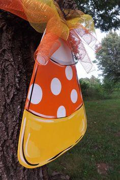 Candy Corn Door Hanger Halloween Door hanger by BluePickleDesigns