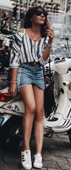 #summer #outfits Striped Cold Shoulder Top + Denim Skirt + White Pumps