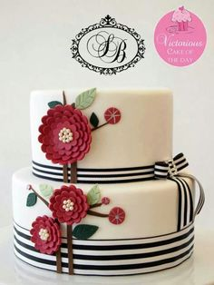 Ribbon, Bow, & Flowers Cake