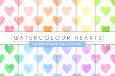 Ideal for: Party decorations, Cards, Banners, Scrap-booking, Accessories, Birthdays, Blog backgrounds, Embroidery, Textile, Design and much more! This set includes: 12 Watercolour Hearts digital papers - This Pack Includes: 1x Zip File containing 12x 300dpi JPG Digital Papers. Size 12x12 inches.