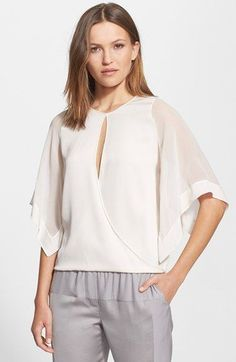 Halston Heritage Kimono Sleeve Stretch Silk Top available at #Nordstrom: