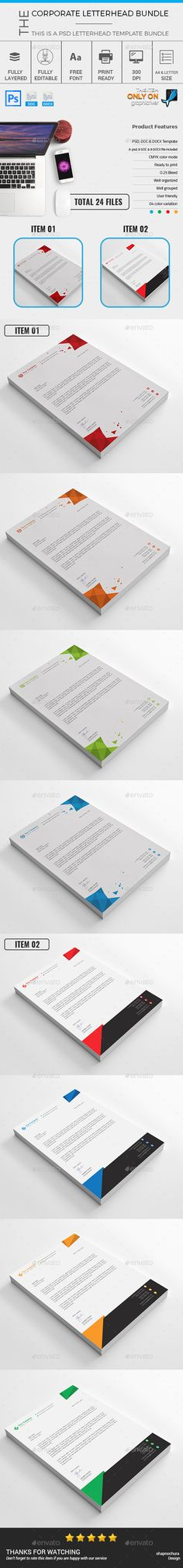 Corporate Letterhead Template Bundle - MS Word, PSD Letterhead - corporate letterhead template