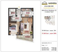 Apartamente de vanzare Mihai Bravu Residence 10 -2 camere tip D Floor Plans, Floor Plan Drawing, House Floor Plans