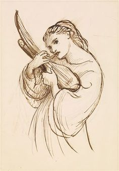Three-quarter length female figure turned to the right and holding a musical instrument. DG Rossetti. brown ink. 1870.