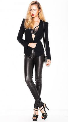 Jacket Bcbg Max Azria, Brassiere Agent Provocateur, Trousers Elena Burenina, Sandals Yves Saint Laurent