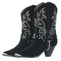 Turquoise Accent Harness Boots Black $109 from Back in the saddle.  Saw lady in hospital with them and they were Fabulous.  Waiting for them to go on sale!