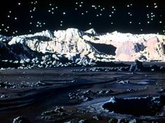 And what does the Moon look like when we get there? Kind of like this... background painting of the surface of the Moon by Chesley Bonestell