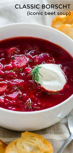 Classic Borscht Recipe (Iconic Beet Soup) This is a classic Ukrainian Borscht Recipe, just like Mom's. Everyone has fallen in love with this iconic beet soup. We love the deep ruby color of this borsch; so healthy and nutritious. Beet Borscht, Beetroot Soup, Soup Recipes, Vegetarian Recipes, Cooking Recipes, Healthy Recipes, Delicious Recipes, Recipes For Beets, Gastronomia