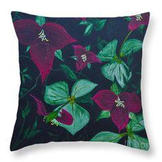 Trilliums Throw Pillow by Sally Rice