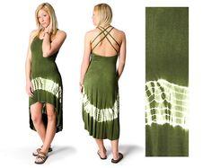 Tie Dye 2.0 High Low Cross Back Dress  Olive by ThreeCranesGallery