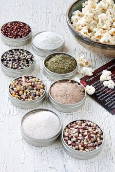 Gourmet popcorn and seasoning kit - popcorn kernels, flavors - unique food gift and DIY gift set - comes in gift box. $23.95, via Etsy.