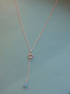 Crystal & Blue Silver Chain Lariat Necklace by KoreisKreations