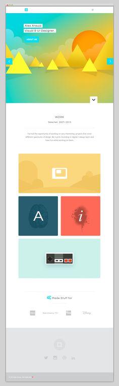 Alex Araujo  Website design layout. Inspirational UX/UI design sample.  Visit us at: www.sodapopmedia.com #WebDesign #UX #UI #WebPageLayout #DigitalDesign #Web #Website #Design #Layout