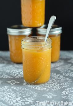 Purely Peach Butter, no cinnamon or spices.  Brenda's notes:  Peach Butter without spices is the only kind I will make because it tastes like summer.  It is the best topping for ice cream ever.  Modification to this recipe:  reduce the water.  There is no need to add this much.