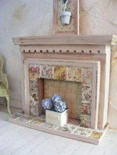 Miniature shabby chic fire surround-12th scale dolls house