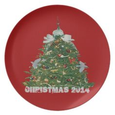 Christmas Tree 2014 with Birds Red Plate