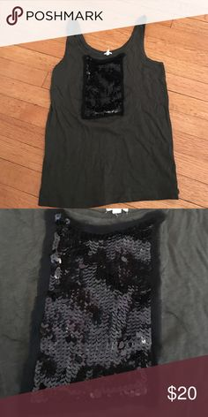 J.Crew army green tank with black sequins Small J. Crew Tops Tank Tops