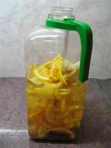 My newly prepared eco enzyme cleaner made from lemon and orange peels (you can use any fruit peel or pulp as well. Pineapples yield the best cleaning enzymes!) (Please READ HERE for my review and g…