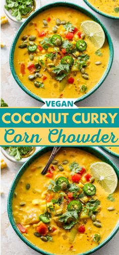 Coconut Curry Corn Chowder is a nourishing, anti-inflammatory-rich recipe that comes together in one pot. Filled with warm spices, potatoes, corn, and a silky coconut broth, this vegan corn chowder is sure to satisfy. #cornchowder #cornrecipe #vegansoup