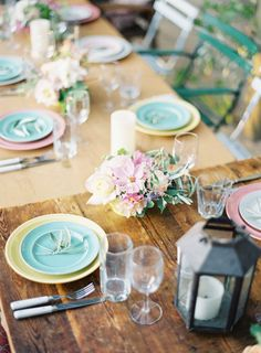 A modern mismatched pastel palette for your next dinner party! Photography & Design by jenhuangphoto.com