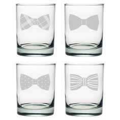Enjoy an after-dinner cocktail with this whimsical double old fashioned glass, showcasing a sand-etched bowtie detail.  Product: