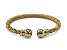 Decorative Stainless Steel Cuff Bracelet Bangle (Gold)