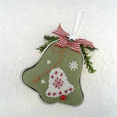 Snowflake Bell Tart Tin Cross Stitch by SnowBerryNeedleArts