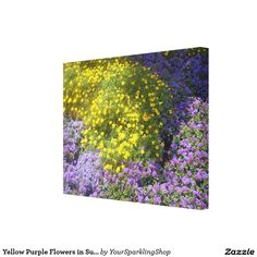 Yellow Purple Flowers in Sunlight Floral Nature Canvas