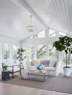 Shiplap ceiling. Living room with shiplap ceiling. Living room with wood paneled ceiling and floor-to-ceiling windows. Porch ceiling…