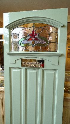 1930's Art Nouveau Stained Glass Front Door - Arch - Stained Glass Doors Company