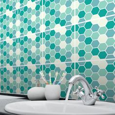 Tile stickers  Mosaic Honeycomb design Available in 9 colour options  Each tile sticker size = 150mm x 150mm  Apply to existing kitchen or bathroom tiles or use for DIY projects such as furniture up cycling and stair kick boards.  Transform your tired tiles for a fraction of the cost of retiling and with no mess! Our tile stickers are printed high resolution for a sharp and realistic image. Easily cut to fit around switches and sockets. Can be used as oven and sink splashbacks. Takes on...