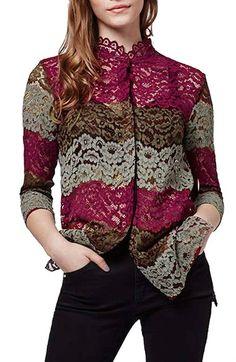 Topshop Colorblock Lace Shirt