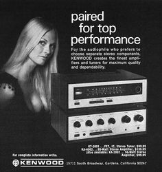 "musicbabes: "" Kenwood stereo components, ""paired for the performance"", 1970 """