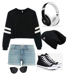 """Untitled #15"" by supergirltyler on Polyvore featuring Paige Denim, Converse, Beats by Dr. Dre and Quay"