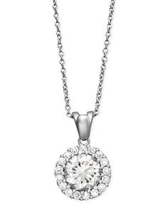 B. Brilliant Sterling Silver Necklace, Cubic Zirconia Round Pave Pendant (2-1/2 ct. t.w.)