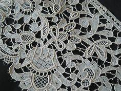 """Vintage Handmade Needle Lace Trim  Irish Inishmacsaint or Point de Venis 5"""" wide"""