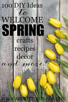 100 DIY Ideas for Spring including crafts and recipes. Spring Projects, Diy Projects To Try, Project Ideas, Craft Projects, Spring Break, Spring Time, Spring Home Decor, Spring Decorations, Easter Crafts